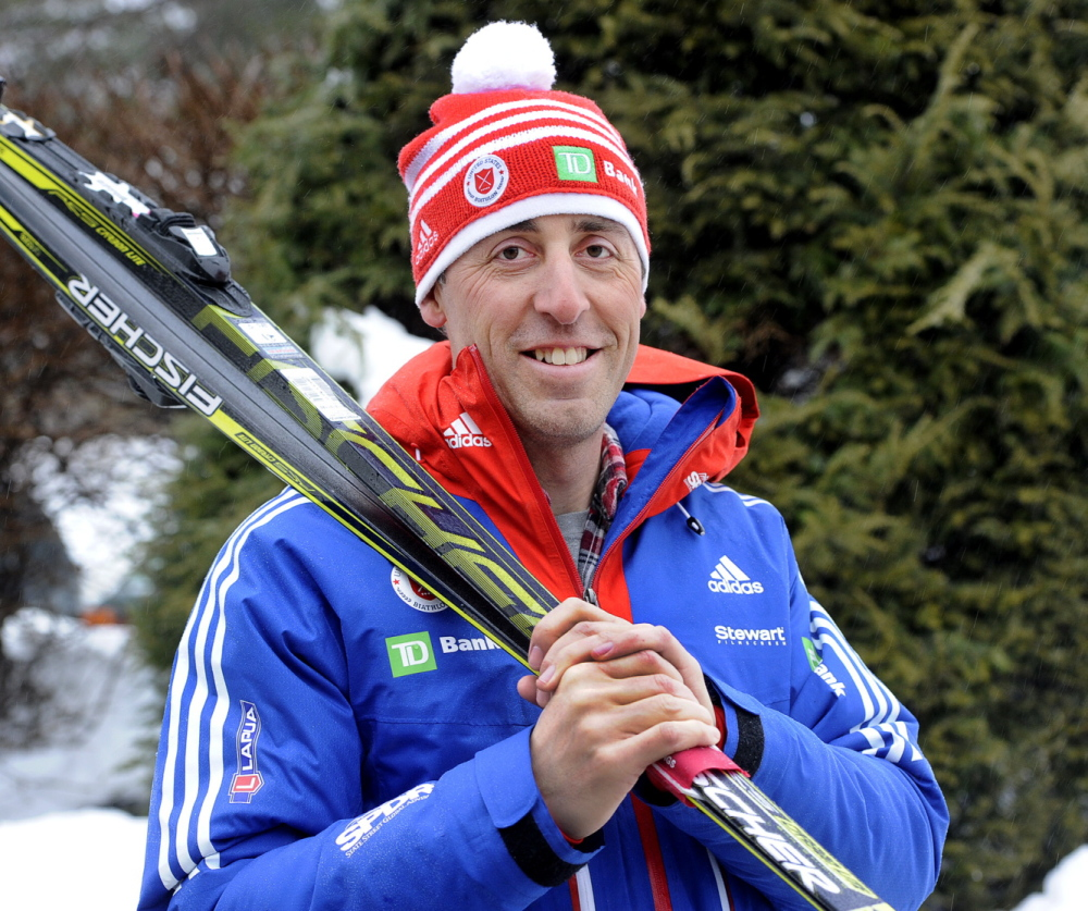 Maine native James Upham is the nordic coach for the U.S. Paralympic team that will be competing in Sochi next month. He is seen in front of his home in Portland. Friday, February 21, 2014. (John Patriquin/Staff Photographer)