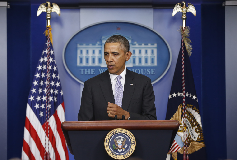 President Barack Obama speaks about Ukraine in the James Brady Press Briefing Room at the White House in Washington on Friday.