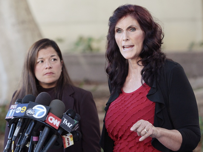 This Sept. 20, 2012 file photo shows Cindy Lee Garcia, right, one of the actresses in the film