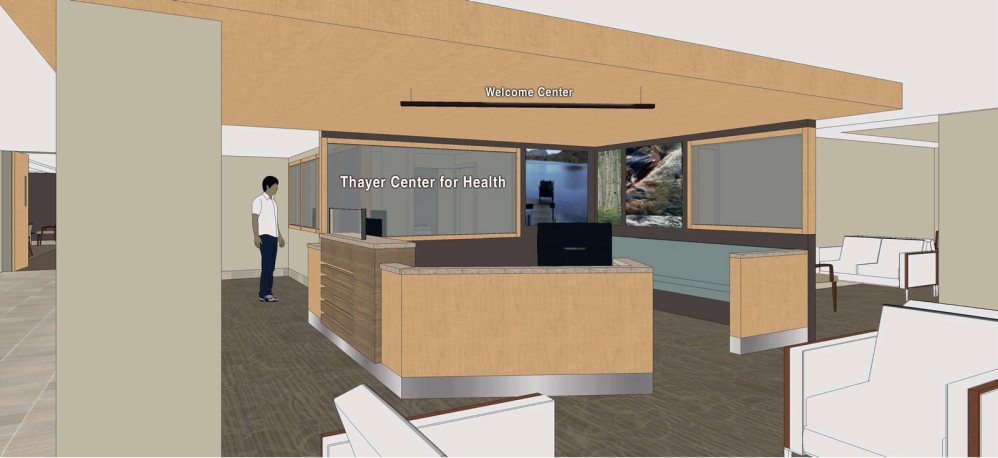 PLANS: A rendering of renovations inside the Thayer Center for Health.