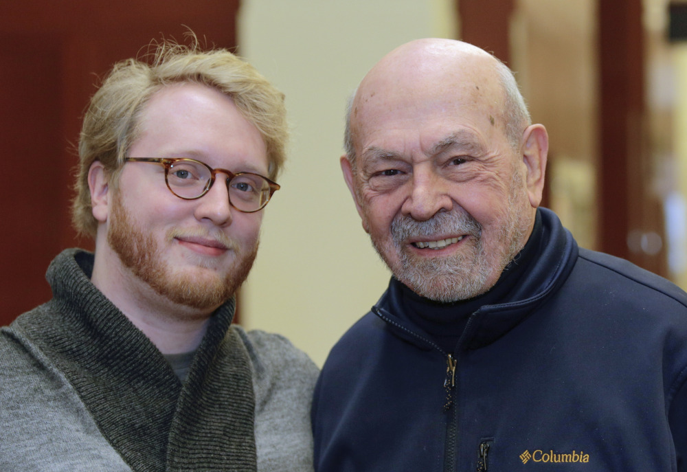 """Medical student Jared Worthington poses with his """"Alzheimer's buddy,"""" retired physician Dan Winship, whose career included stints as medical school dean at Chicago-based Loyola University; professorships at Rush Medical College and the University of Illinois in Chicago, and as an associate dean at the University of Missouri's medical school."""