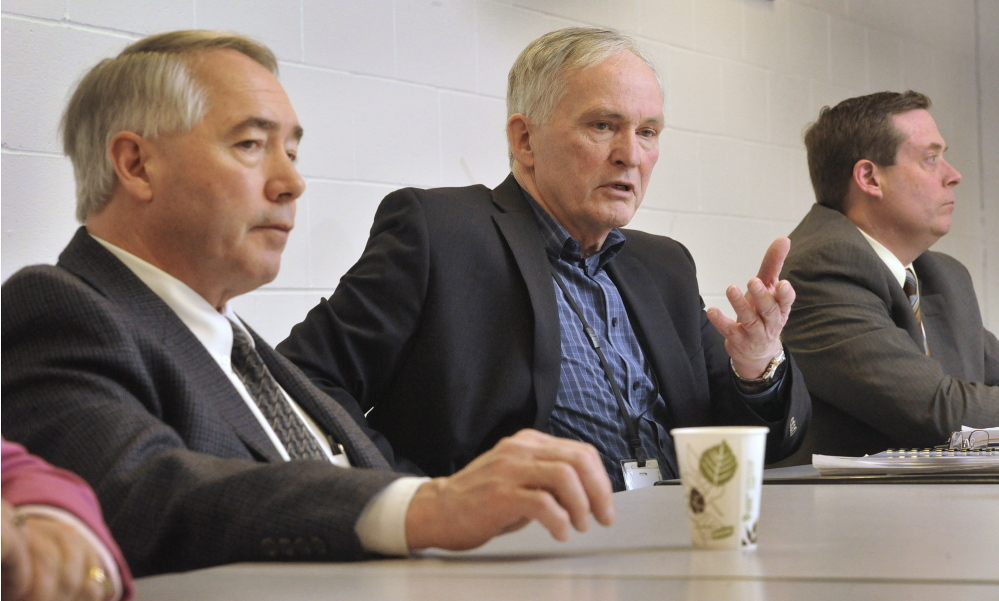 Corrections Commissioner Joseph Ponte, center, discusses prison security during a news conference at Long Creek Youth Development Center in South Portland on Friday. With him are Associate Commissioner Joseph Fitzpatrick, left, and Department of Corrections Director of Security Gary LaPlante.