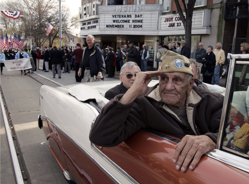"This Nov. 11, 2004 file photo shows William ""Wild Bill"" Guarnere participating in the Veterans Day parade in Media, Pa."