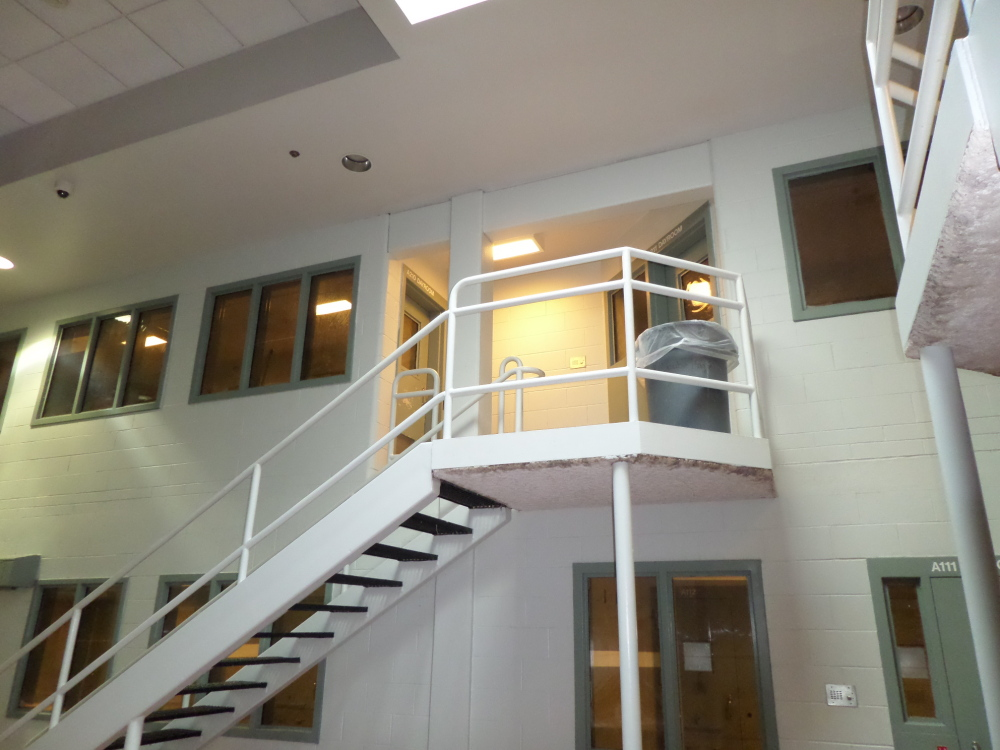 Doors that open onto this landing between the men's and women's units were left unlocked at the Cumberland County Jail, allowing two inmates to have sex, authorities said.