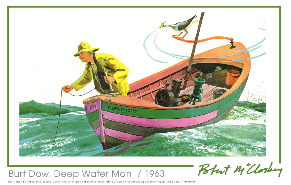 """This image is from the Robert McCloskey book """"Burt Dow, Deep Water Man."""" McCloskey art will soon be on posters and note cards."""