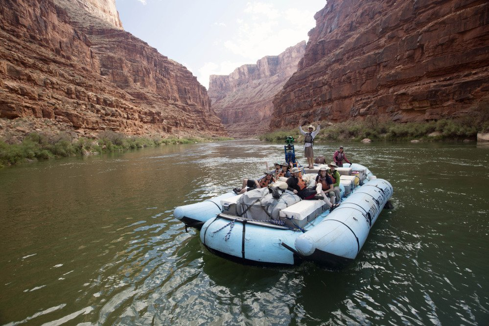 This frame from a Google moving time-lapse sequence of images show rafters on the Colorado River in Grand Canyon National Park., Ariz., in August.