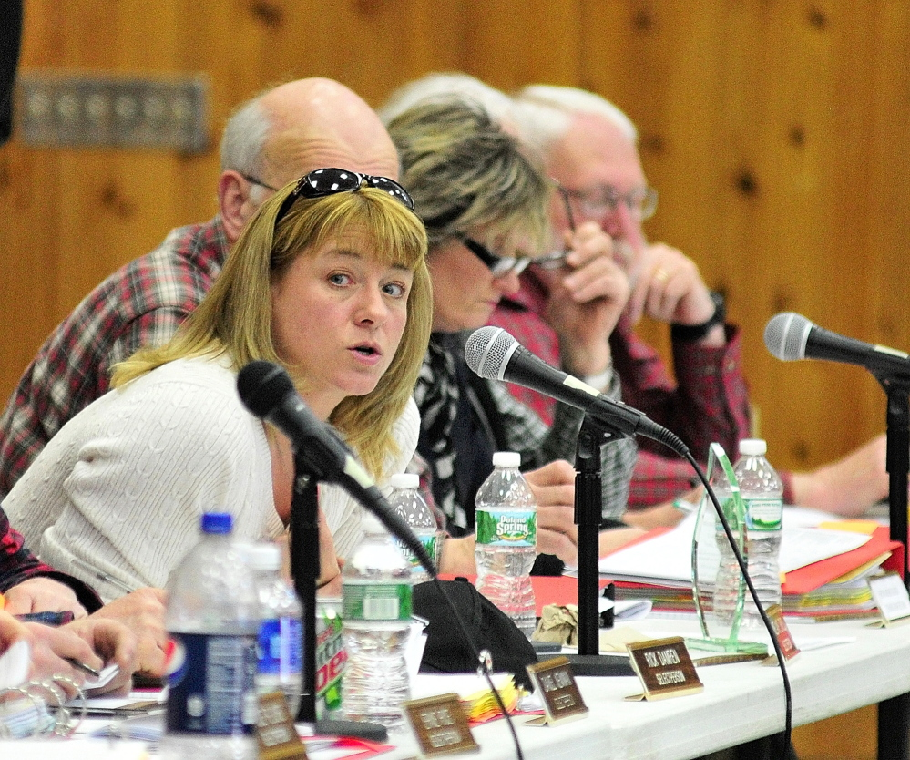 Meeting: Selectwoman Melanie Jewell speaks during a debate Saturday at the 2014 Belgrade Town Meeting at the Center For All Seasons.