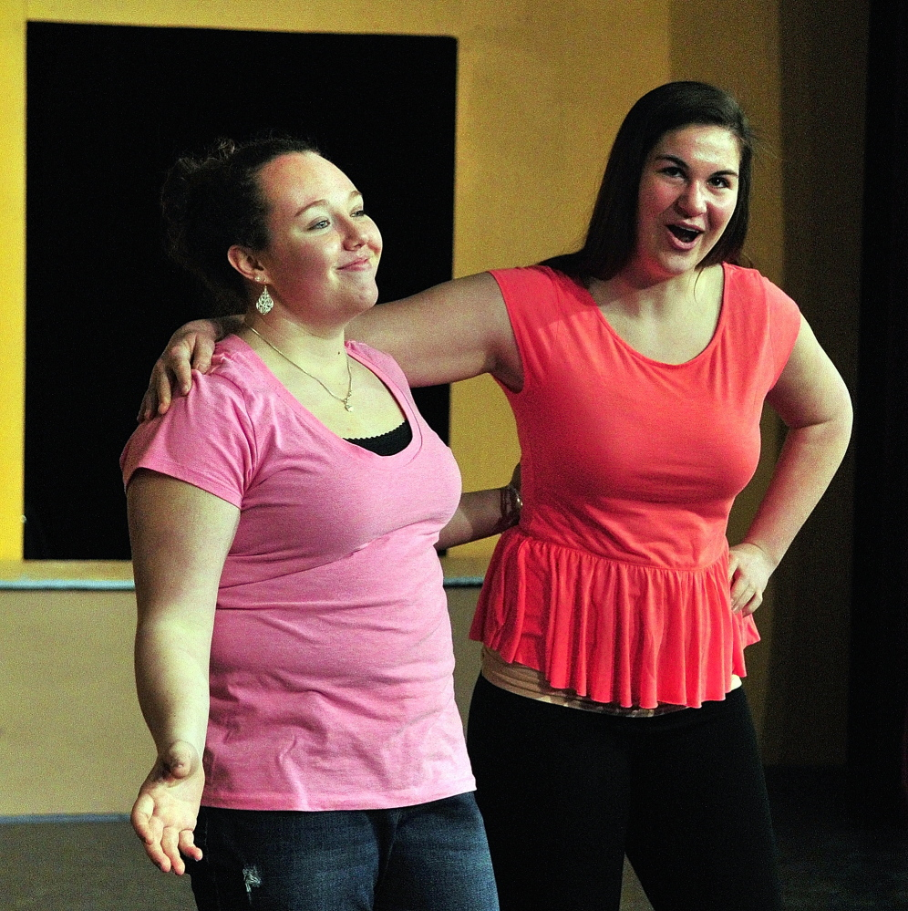 "Comic relief: Katelyn Boyington, left, and Emalee Couture rehearse a scene from ""Twelfth Night"" on Friday for Lit Fest in the Little Theater at Gardiner Area High School in Gardiner."