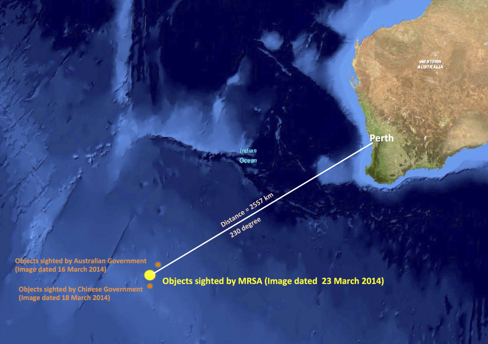 This graphic released by the Malaysian Remote Sensing Agency on Wednesday, March 26, 2014, shows the approximate position of objects seen floating in the southern Indian Ocean in the search zone for the missing Malaysia Airlines flight MH370. Malaysian Defense Minister Hishammuddin Hussein said at a news conference in Kuala Lumpur, Wednesday that a satellite has captured images of 122 objects close to where three other satellites previously detected objects.