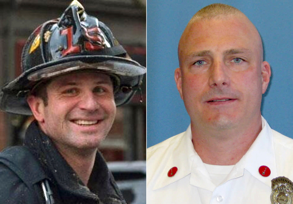 Firefighters Michael R. Kennedy, left, and Lt. Edward J. Walsh, were killed Wednesday when they were trapped the basement while fighting a fire in an apartment building in Boston.