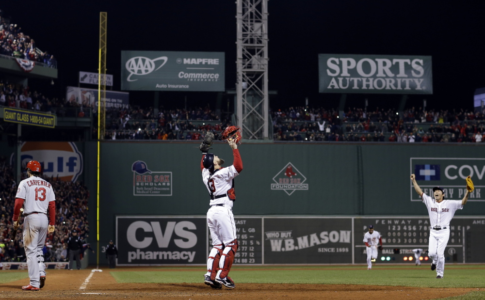 The sky could still be the limit, as it was last fall when pitcher Koji Uehara and catcher David Ross celebrated after Matt Carpenter's strikeout in Game 6.