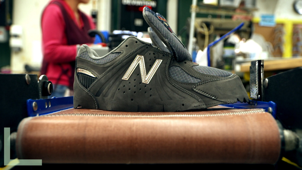 """The product: A still from the documentary movie """"America Made"""" shows shoes being made at Skowhegan's New Balance factory."""