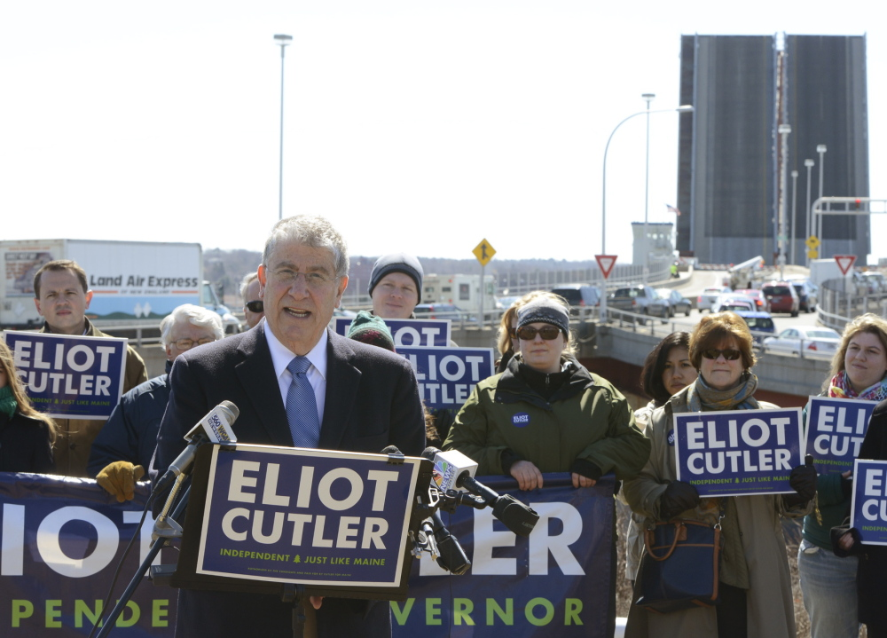 Independent gubernatorial candidate Eliot Cutler speaks during a press conference at Harbor View Memorial Park.