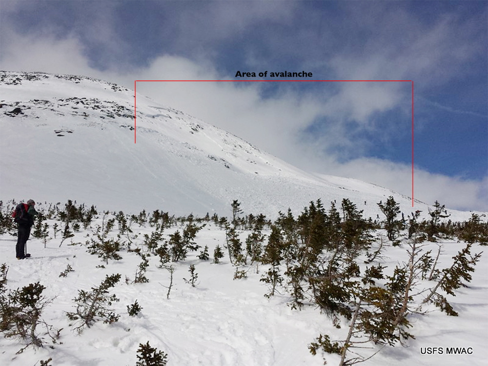 """A large avalanche on the southeast slope of the """"Summit Cone"""" of Mount Washington on Saturday affected about 10 acres, and was as deep as 20 feet. It carried down a boulder the size of a small car, according to a snow ranger for the U.S. Forest Service."""