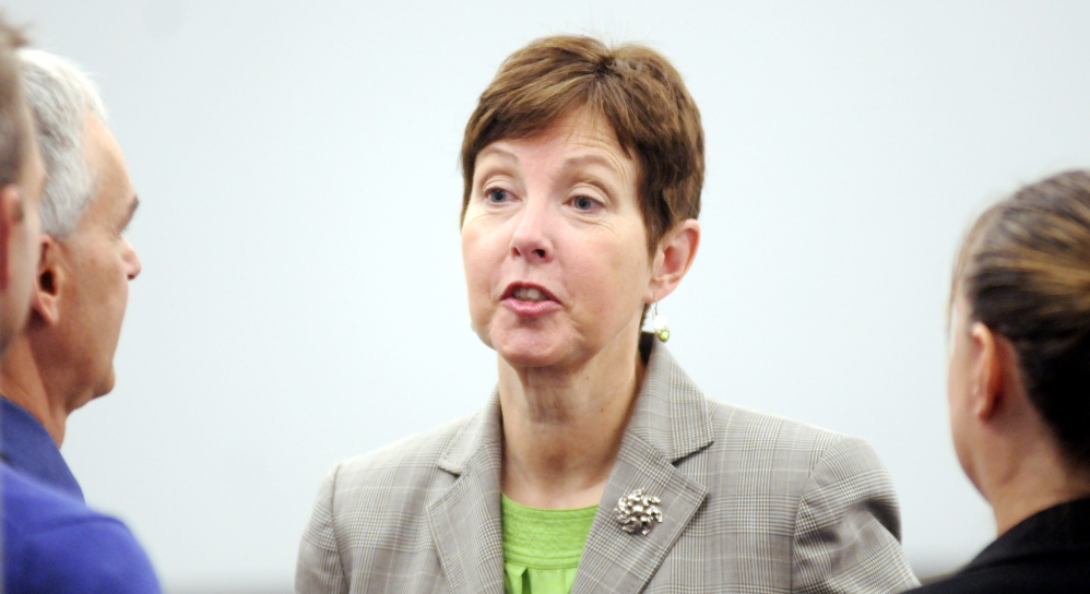 DEP Commissioner Patricia Aho, shown in 2013, erred in her decision involving a wind farm on Vinalhaven, according to a court ruling that is now being appealed.