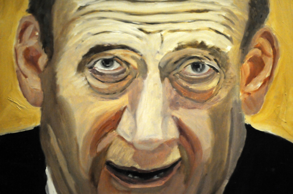 """A detail of a portrait of former Israeli Prime Minister Ehud Olmert. It is part of the exhibit """"The Art of Leadership: A President's Diplomacy."""""""