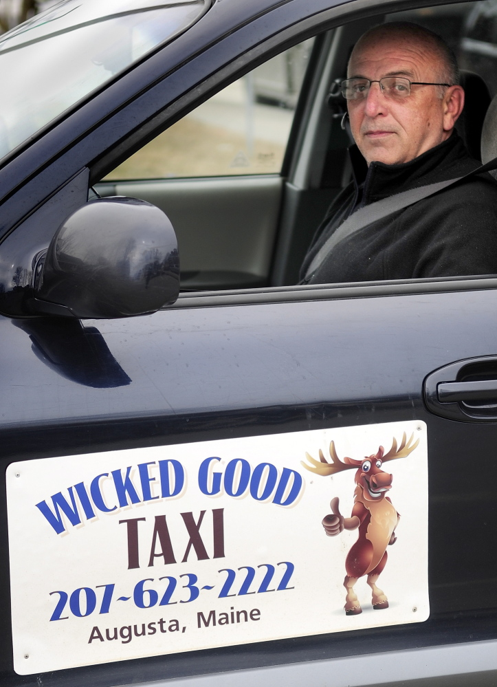 Apprehensive: Paul Marquis, who drives a cab for his business, Wicked Good Taxi, said he's never been robbed, but sometimes he does worry about what will happen if someone can't pay for a ride.