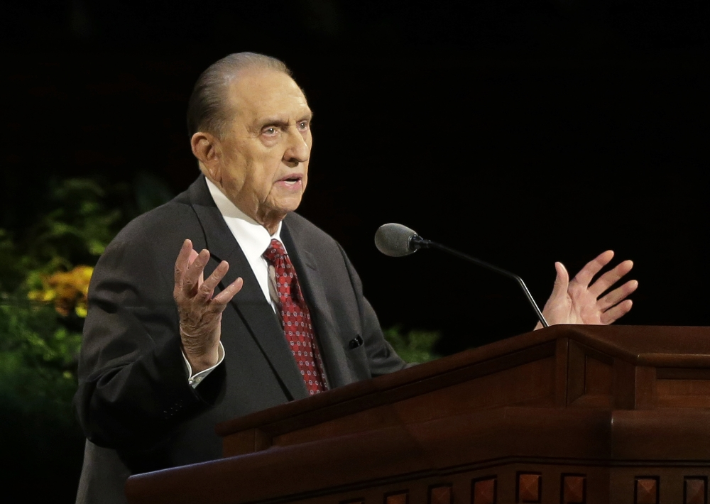 President Thomas S. Monson of The Church of Jesus Christ of Latter-day Saints opens Saturday morning's session of the 184th annual General Conference of The Church of Jesus Christ of Latter-day Saints by talking about the progress of temple construction around the world.