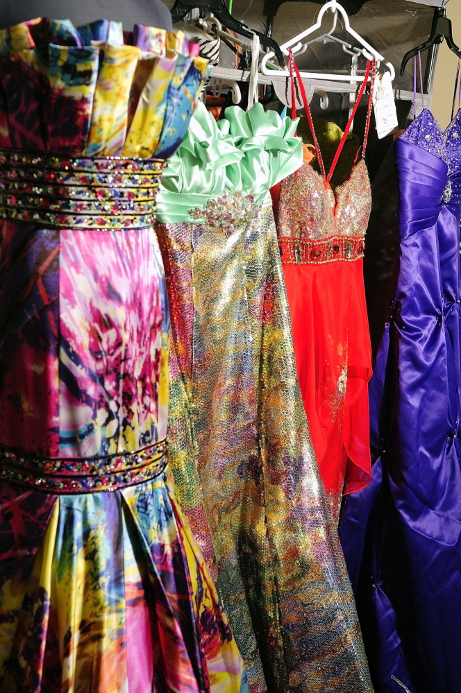 Some of the donated dresses at Gardiner Area High School.