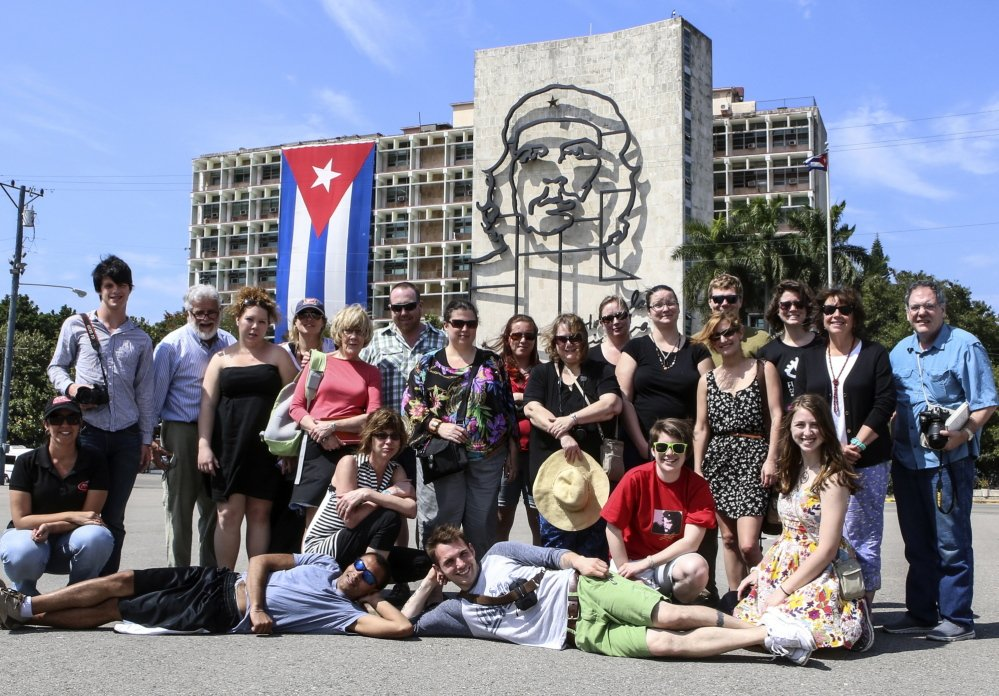 A country's center: University of Maine at Augusta students pose in Havana's Revolution Square during their recent trip to Cuba.