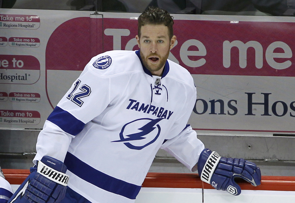 Tampa Bay Lightning left wing Ryan Malone was charged Saturday with DUI and possession of cocaine after a traffic stop, police say.