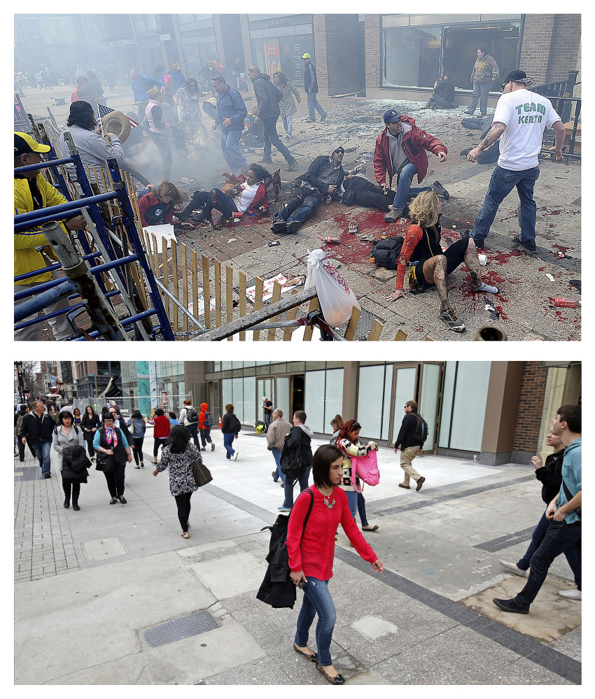 This combination of April 15, 2013, and April 10, 2014, photos show views of Boylston Street with people on the ground after the first of two bombs exploded near the finish line of the 2013 Boston Marathon, then pedestrians walking along the same sidewalk almost a year later in Boston.