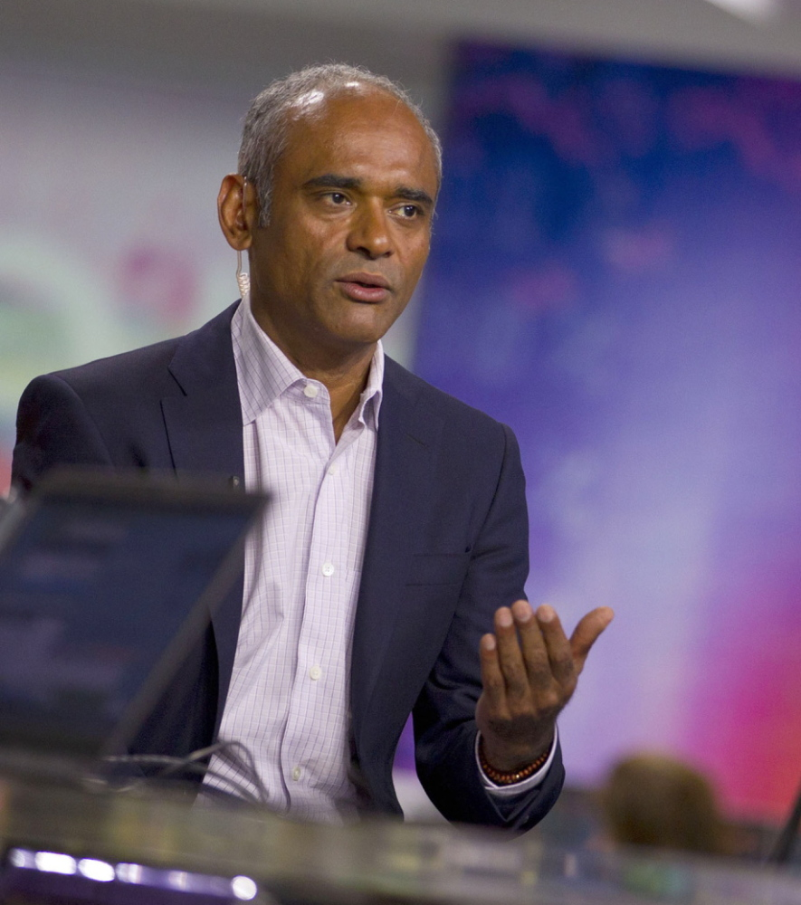 Chet Kanojia, founder of Aereo Inc., is interviewed on Bloomberg Television in New York in 2013. The Internet startup uses thousands of antennas to capture broadcast TV programs, then streams the video online for subscribers in 11 cities, but doesn't pay licensing fees to the broadcast networks; that has put it at the center of a Supreme Court debate on the reach of copyright laws and the future of television. Illustrates SCOTUS-TV (category a), by Cecilia Kang and Robert Barnes © 2014, The Washington Post. Moved Monday, April 21, 2014. (MUST CREDIT: Bloomberg News photo by Jin Lee)