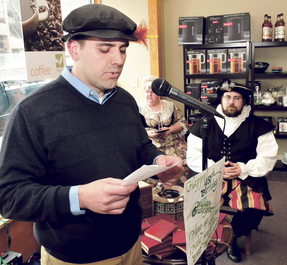 WELL READ: Fairfield Town Manager Josh Reny was one of many people to read one of Shakespeare's sonnets in Waterville Wednesday on the 450th anniversary of his birth. At right is Joshua Fournier, dressed up as the Bard.