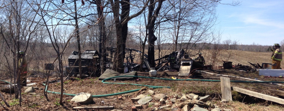 DESTROYED: A fire destroyed a mobile home on Main Street in Clinton on Friday.