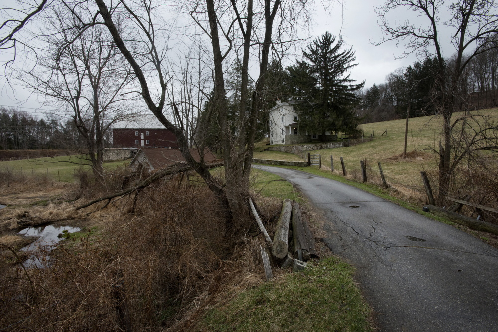 The entrance to the Kuener farm is seen in Chadds Ford, Pa. The late artist Andrew Wyeth lived in the area and often painted on the farm.