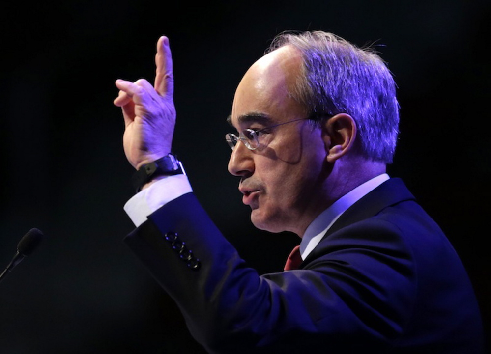 Congressional candidate Bruce Poliquin speaks at the Maine GOP Convention on Saturday.