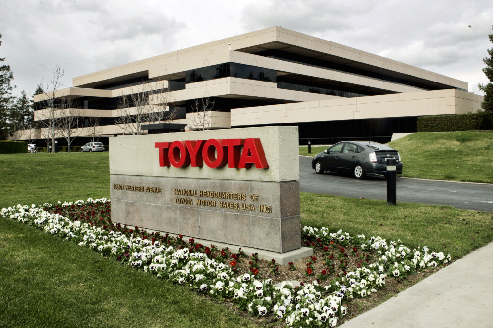 A Prius enters Toyota's U.S. headquarters in Torrance, Calif.