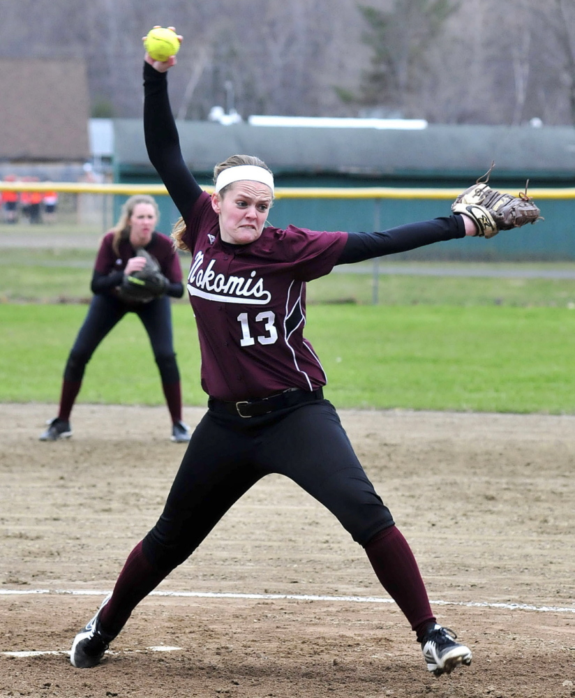 LEADING THE PACK: Nokomis pitcher Sara Packard leads the Warriors in the circle. But the senior has a knack for hitting as well.