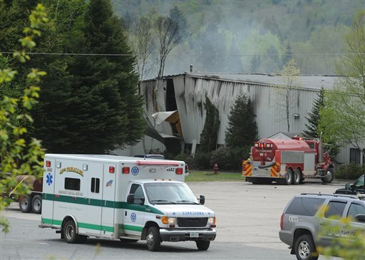 In this 2010 photo, emergency crews respond to an explosion at the Black Mag factory plant in Colebrook, N.H. Jesse Kennett and Dinald Kendall were killed in the explosion. The owner of the gunpowder factory, Craig Sanborn, was sentenced to 10 to 20 years in prison for manslaughter.