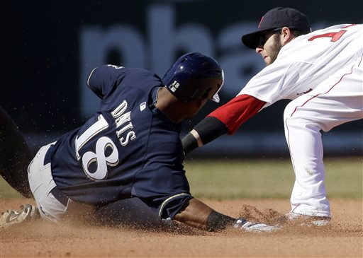 Milwaukee's Khris Davis slides safe at second base on a double hit as Boston's Dustin Pedroia tries to tag him out in the seventh inning Sunday in Boston.