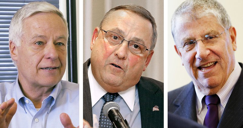 Maine gubernatorial candidates, from left: Rep. Mike Michaud, Gov. Paul LePage and Eliot Cutler.
