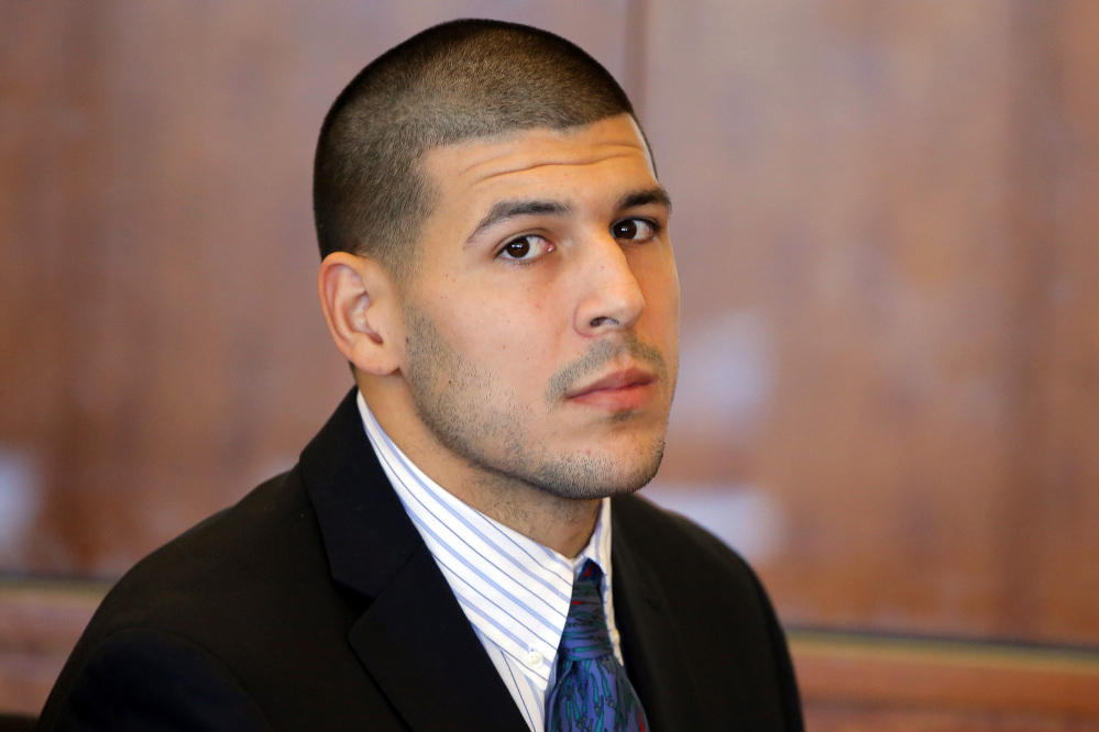 Former New England Patriots NFL football player Aaron Hernandez.