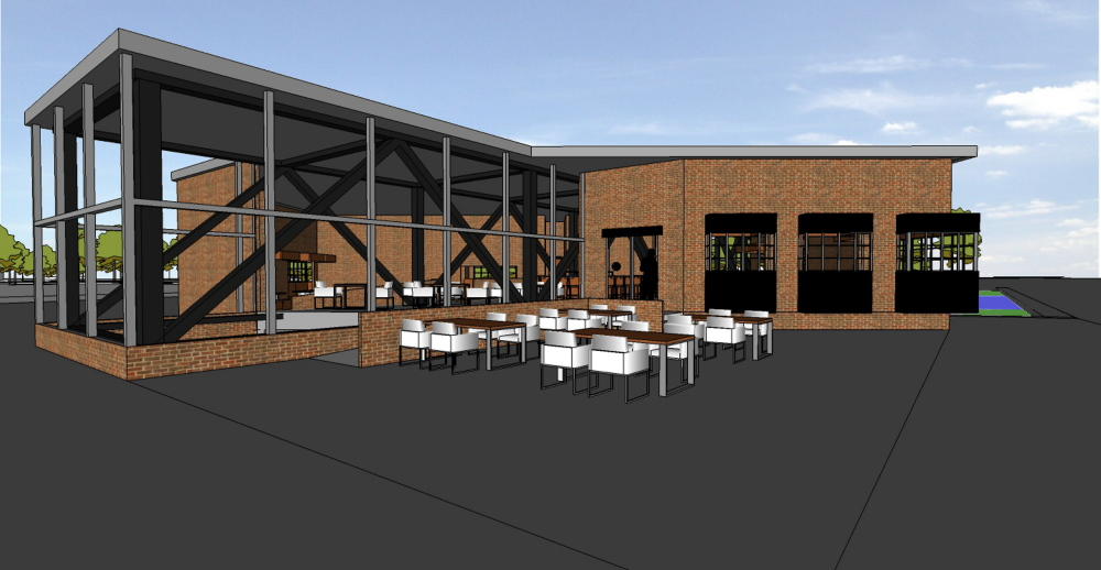 VISION FOR GARDINER: A brewpub designed by University of Maine-Augusta student Earl Shields would overlook Cobbossee Stream near where Chapman Fuel, Inc. is located.