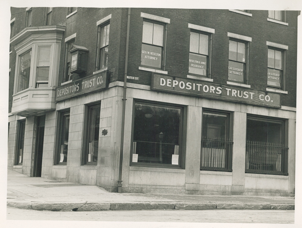 KEYBANK BRANCH CLOSING: A 1936 photograph shows the Key Bank building in downtown Gardiner, at the corner of Brunswick Avenue and Water Street, when it was Depositors Trust Company. The bank is moving out of the 139-year-old building.