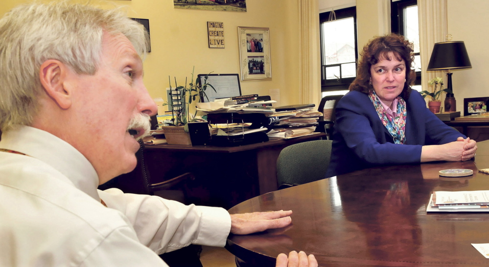 GROWTH: Thomas College Provost Thomas Edwards and President Laurie LaChance speak about continued growth at the Waterville college.