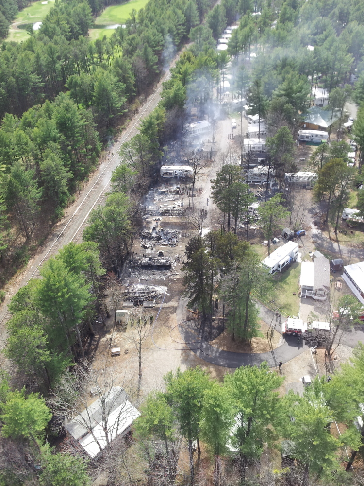 Damage to the Wagon Wheel RV Resort and Campground in Old Orchard Beach is apparent in this aerial photo taken from a Maine Forest Service helicopter.