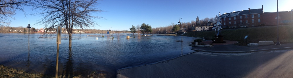 Flooded: Water spilled over the banks of the Kennebec in Gardiner earlier this year.