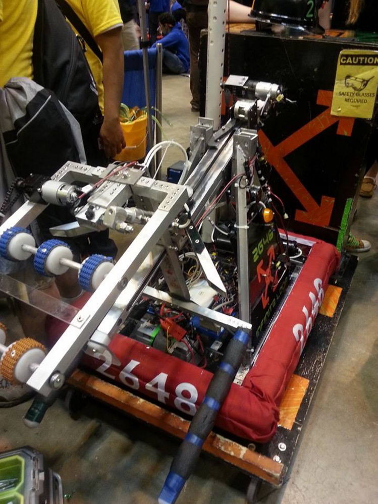 CHAMP: The Messalonskee Robotics team robot, Ali, named after longtime boxing world champion Muhammed Ali, underwent a last-minute retooling after winning the Maine state championship before it went to the FIRST Robotics World Championship in St. Louis, where the team finished 52nd out of 100 teams in its division.
