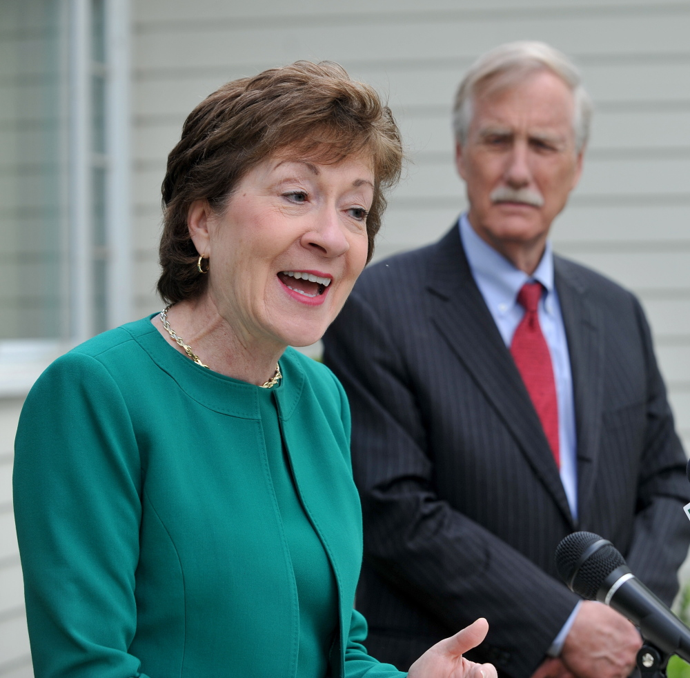 Endorsement: U.S. Sens. Susan Collins and Angus King stand outside the Margaret Chase Smith Library in Skowhegan on Friday. King endorsed Susan Collins for re-election.