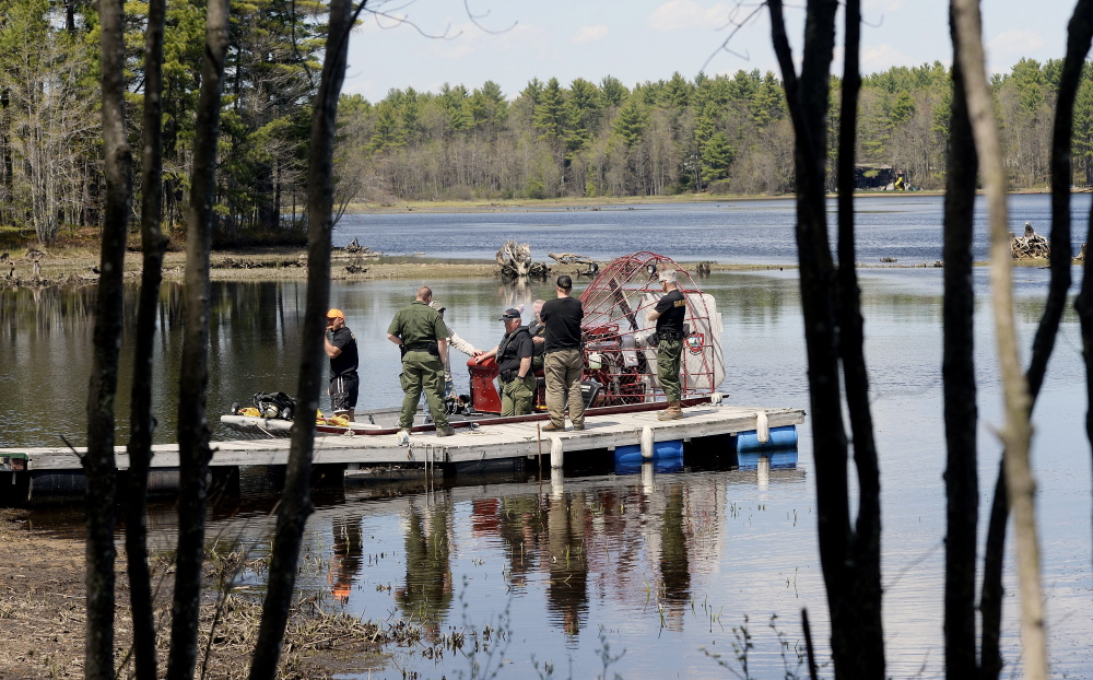 Maine wardens prepare to set off in an airboat on Lake Arrowhead to search for Jaden Dremsa on May 12. A husband and wife in a pontoon boat discovered the 15-year-old's body along the lake shoreline on Saturday and waved down a warden service airboat.
