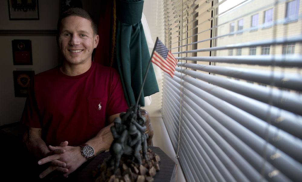 Marine Cpl. Kyle Carpenter speaks to media at the Pentagon on May 13. He will receive the Medal of Honor on June 19. He is the 15th recipient of the medal for service in Iraq and Afghanistan, the eighth who is still alive.