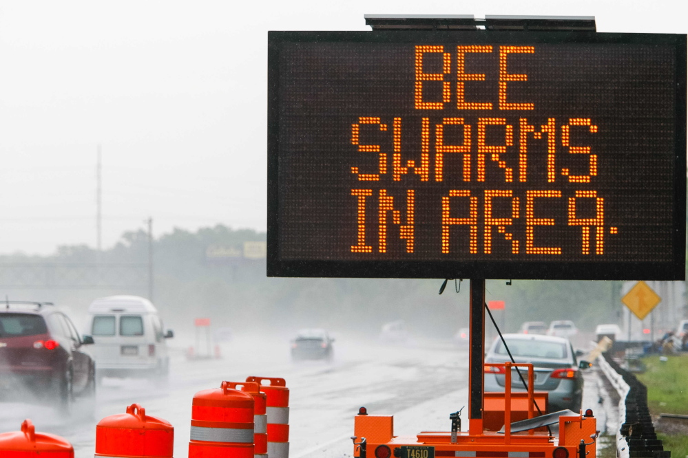 Traffic on Interstate 95 is met with a warning sign after a tractor-trailer spilled a load of 16 million to 20 million honeybees when it rolled over Tuesday near Newark, Del.