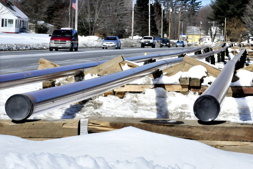 BEFORE THE LINK: A stockpile of pipe in Norridgewock is shown in March, about a month before Summit Natural Gas of Maine completed the connection to UPM Madison Paper Mill.