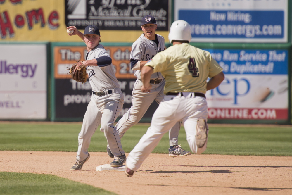 University of Southern Maine second baseman Paul McDonough makes the turn on a game-ending double play in the ninth inning against Salisbury University in the NCAA Division III Championships at Neuroscience Group Field in Appleton, Wis., on Saturday.