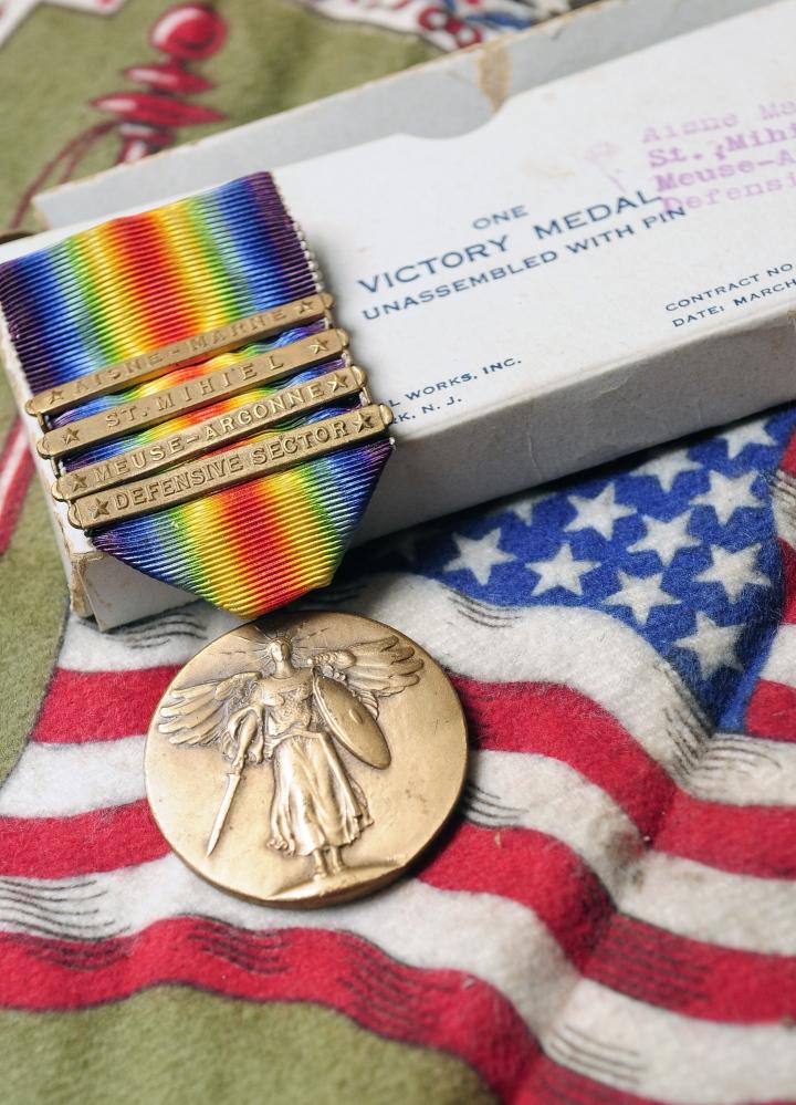 Victory: Leon Wood's Victory Medal is among the memorabilia his nephew now treasures.